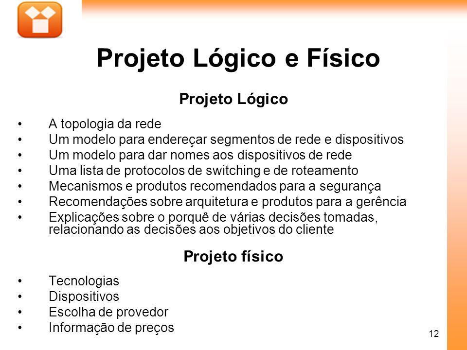 12 Projeto Lógico e Físico Projeto Lógico A topologia da rede Um modelo para endereçar segmentos de rede e dispositivos Um modelo para dar nomes aos d
