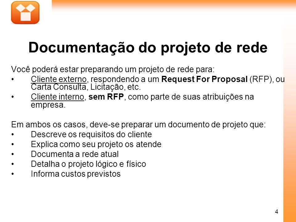 4 Você poderá estar preparando um projeto de rede para: Cliente externo, respondendo a um Request For Proposal (RFP), ou Carta Consulta, Licitação, et