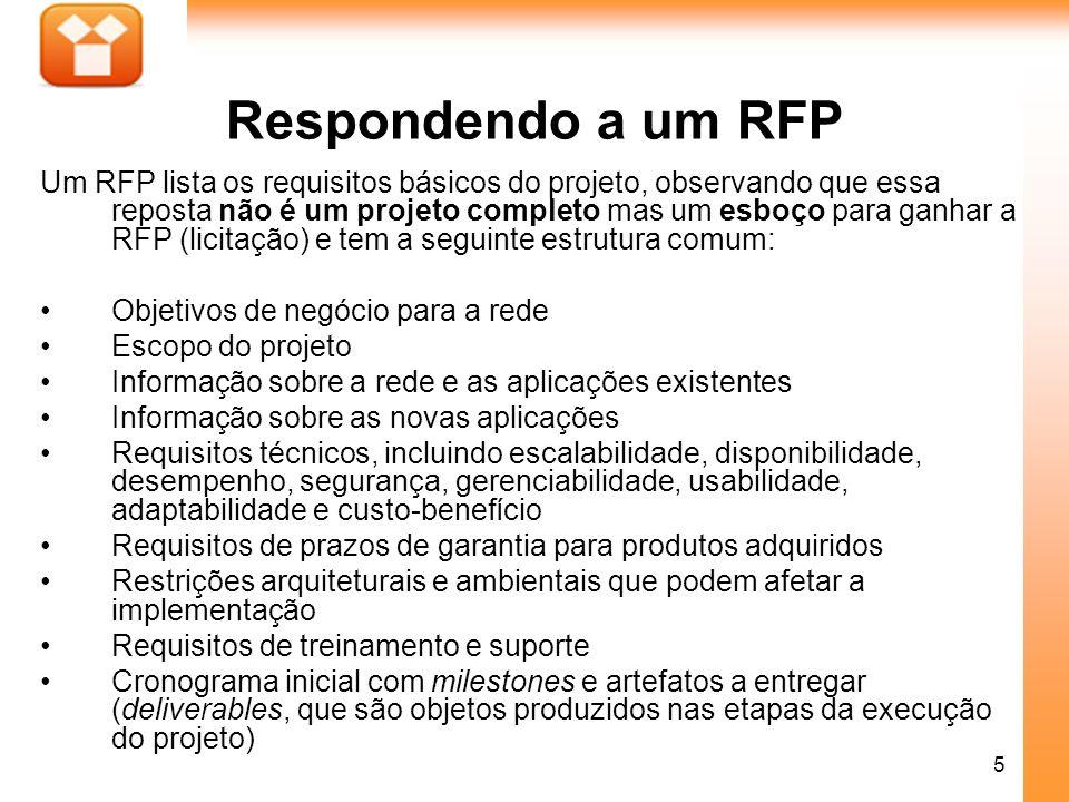 5 Respondendo a um RFP Um RFP lista os requisitos básicos do projeto, observando que essa reposta não é um projeto completo mas um esboço para ganhar