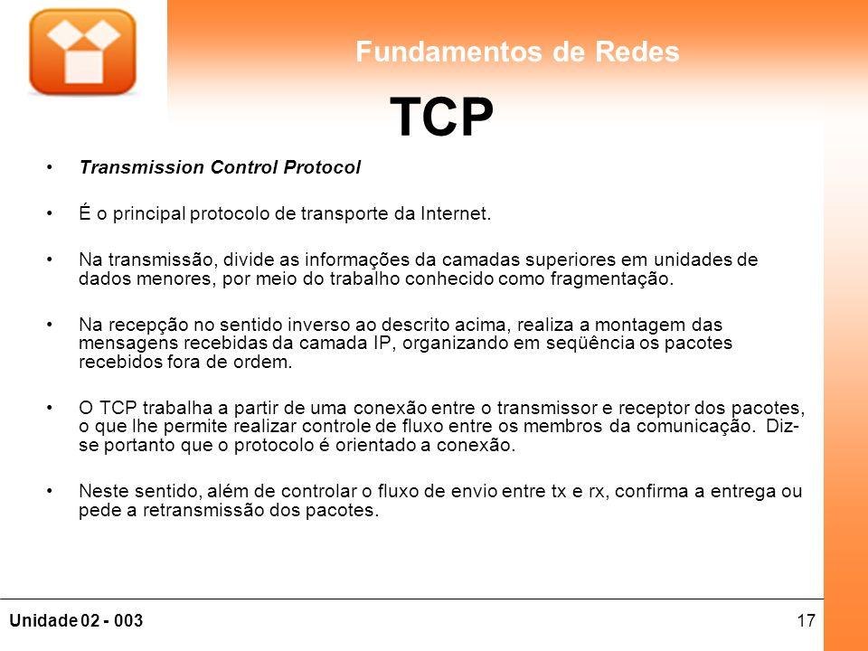 17Unidade 02 - 003 Fundamentos de Redes TCP Transmission Control Protocol É o principal protocolo de transporte da Internet.