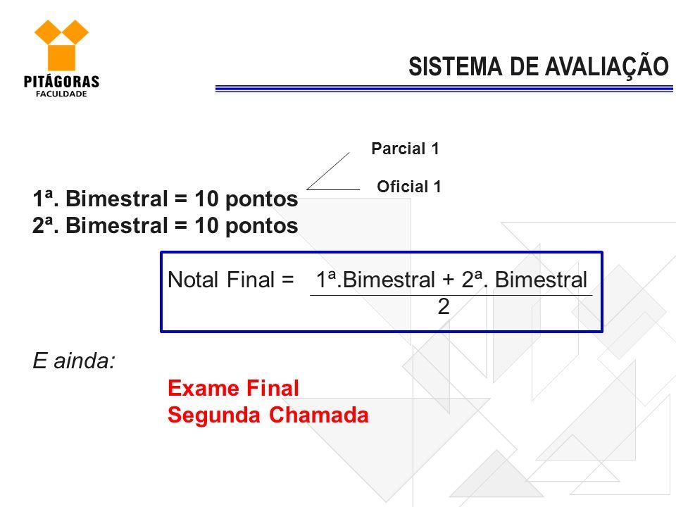 1ª. Bimestral = 10 pontos 2ª. Bimestral = 10 pontos Notal Final = 1ª.Bimestral + 2ª. Bimestral 2 E ainda: Exame Final Segunda Chamada SISTEMA DE AVALI