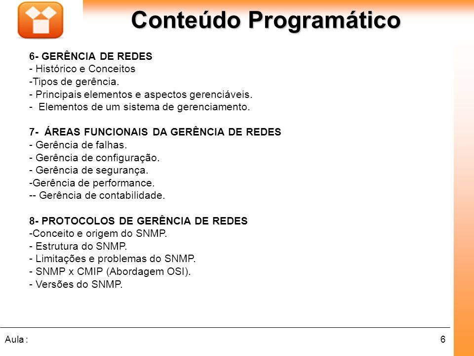 6Aula : Conteúdo Programático 6- GERÊNCIA DE REDES - Histórico e Conceitos -Tipos de gerência. - Principais elementos e aspectos gerenciáveis. - Eleme