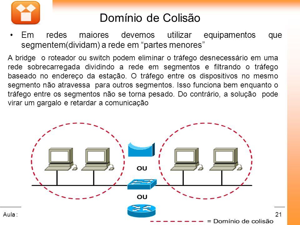 21Aula : Em redes maiores devemos utilizar equipamentos que segmentem(dividam) a rede em partes menores Domínio de Colisão A bridge o roteador ou swit