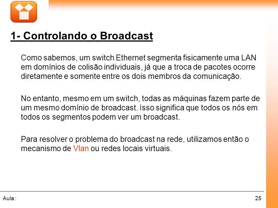 25Aula : 1- Controlando o Broadcast Como sabemos, um switch Ethernet segmenta fisicamente uma LAN em domínios de colisão individuais, já que a troca d