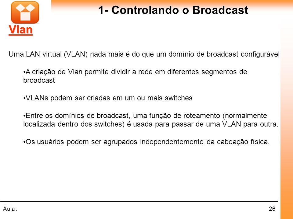 26Aula : Vlan Uma LAN virtual (VLAN) nada mais é do que um domínio de broadcast configurável A criação de Vlan permite dividir a rede em diferentes se