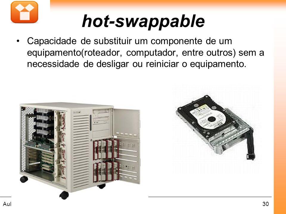 30Aula : hot-swappable Capacidade de substituir um componente de um equipamento(roteador, computador, entre outros) sem a necessidade de desligar ou r