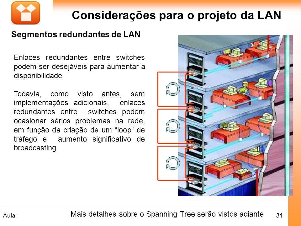 31Aula : Considerações para o projeto da LAN Segmentos redundantes de LAN Mais detalhes sobre o Spanning Tree serão vistos adiante Enlaces redundantes