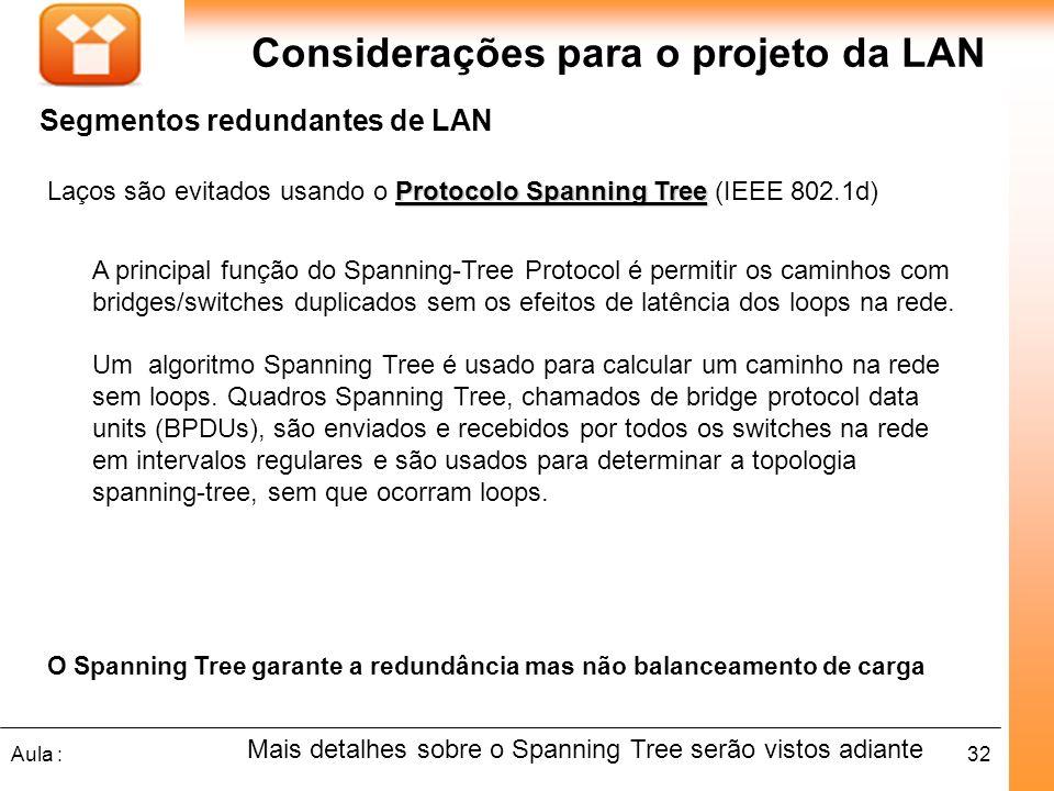 32Aula : Considerações para o projeto da LAN Segmentos redundantes de LAN Protocolo Spanning Tree Laços são evitados usando o Protocolo Spanning Tree