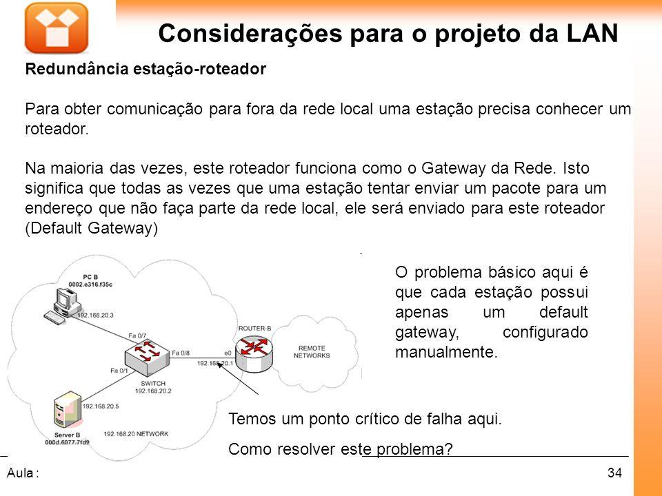 34Aula : Considerações para o projeto da LAN Redundância estação-roteador Para obter comunicação para fora da rede local uma estação precisa conhecer