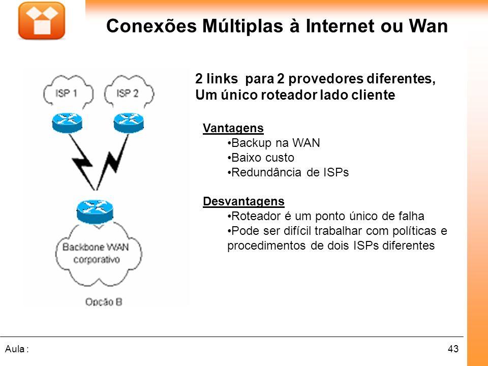 43Aula : 2 links para 2 provedores diferentes, Um único roteador lado cliente Conexões Múltiplas à Internet ou Wan Vantagens Backup na WAN Baixo custo