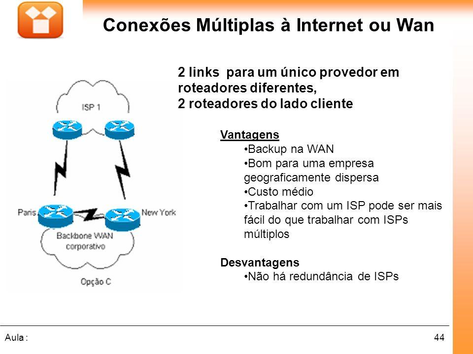 44Aula : 2 links para um único provedor em roteadores diferentes, 2 roteadores do lado cliente Conexões Múltiplas à Internet ou Wan Vantagens Backup n