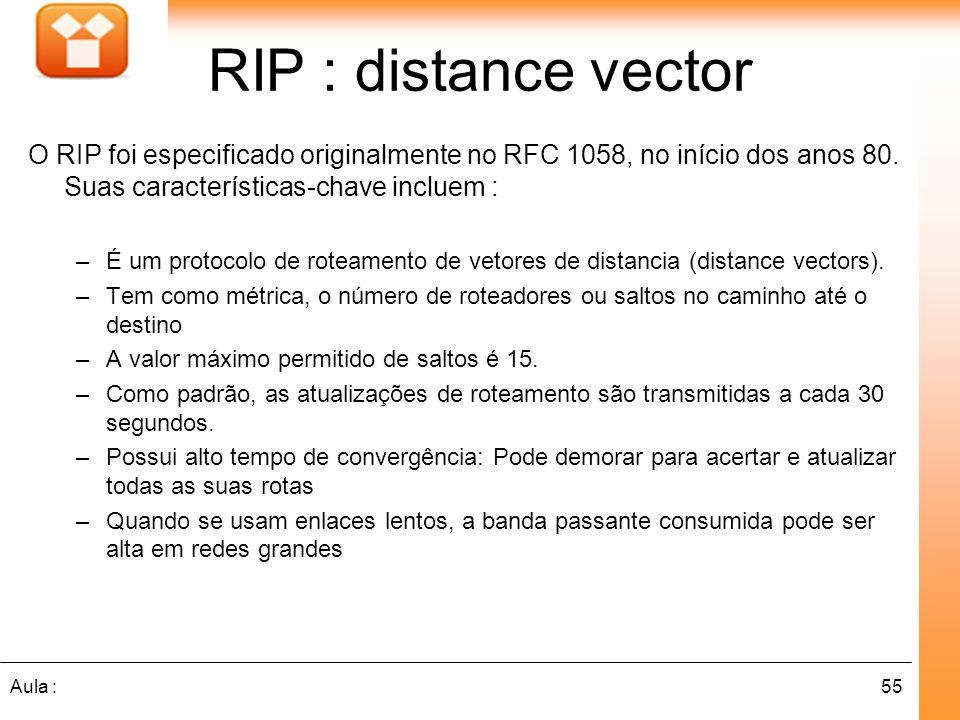 55Aula : RIP : distance vector O RIP foi especificado originalmente no RFC 1058, no início dos anos 80. Suas características-chave incluem : –É um pro