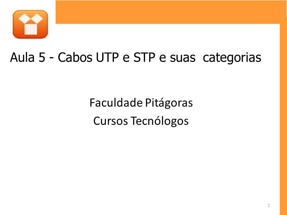 Faculdade Pitágoras Cursos Tecnólogos Aula 5 - Cabos UTP e STP e suas categorias 1