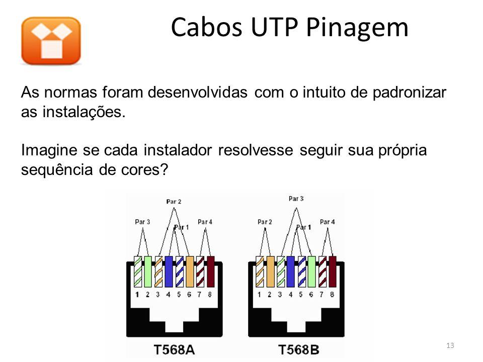 Cabos UTP Pinagem As normas foram desenvolvidas com o intuito de padronizar as instalações. Imagine se cada instalador resolvesse seguir sua própria s