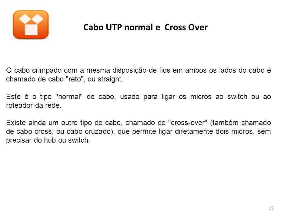 Cabo UTP normal e Cross Over O cabo crimpado com a mesma disposição de fios em ambos os lados do cabo é chamado de cabo reto , ou straight.