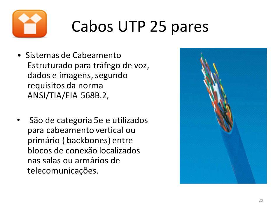 Cabos UTP 25 pares Sistemas de Cabeamento Estruturado para tráfego de voz, dados e imagens, segundo requisitos da norma ANSI/TIA/EIA-568B.2, São de ca