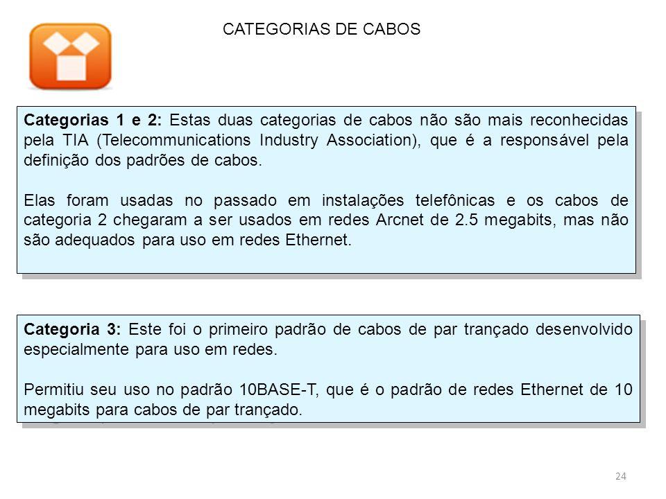 Categorias 1 e 2: Estas duas categorias de cabos não são mais reconhecidas pela TIA (Telecommunications Industry Association), que é a responsável pela definição dos padrões de cabos.