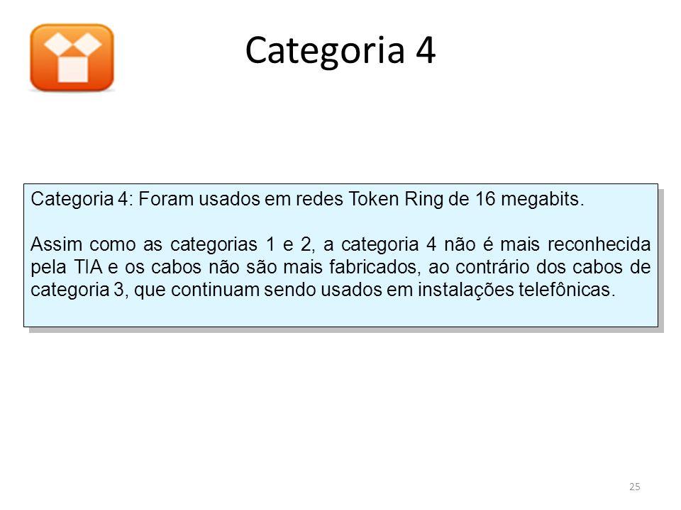 Categoria 4 Categoria 4: Foram usados em redes Token Ring de 16 megabits. Assim como as categorias 1 e 2, a categoria 4 não é mais reconhecida pela TI