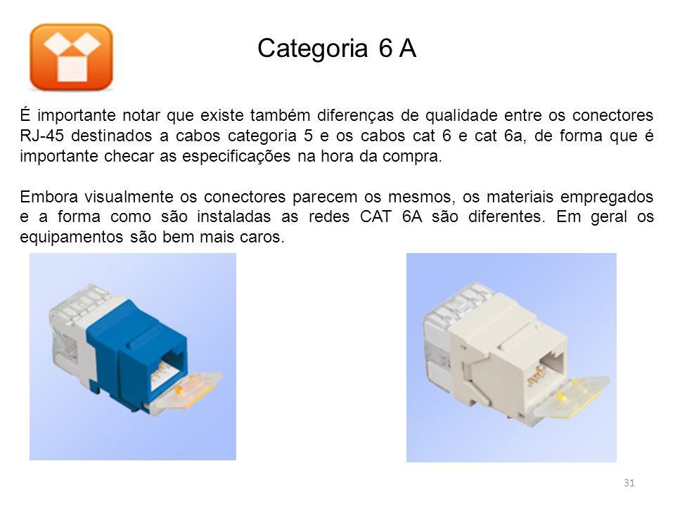 É importante notar que existe também diferenças de qualidade entre os conectores RJ-45 destinados a cabos categoria 5 e os cabos cat 6 e cat 6a, de fo