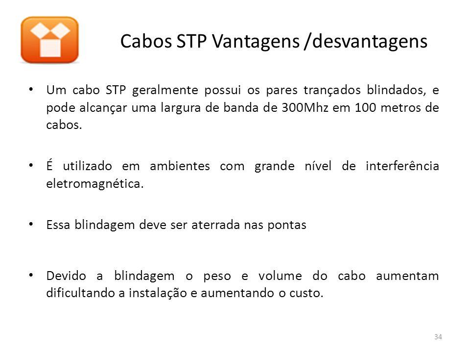 Cabos STP Vantagens /desvantagens Um cabo STP geralmente possui os pares trançados blindados, e pode alcançar uma largura de banda de 300Mhz em 100 metros de cabos.