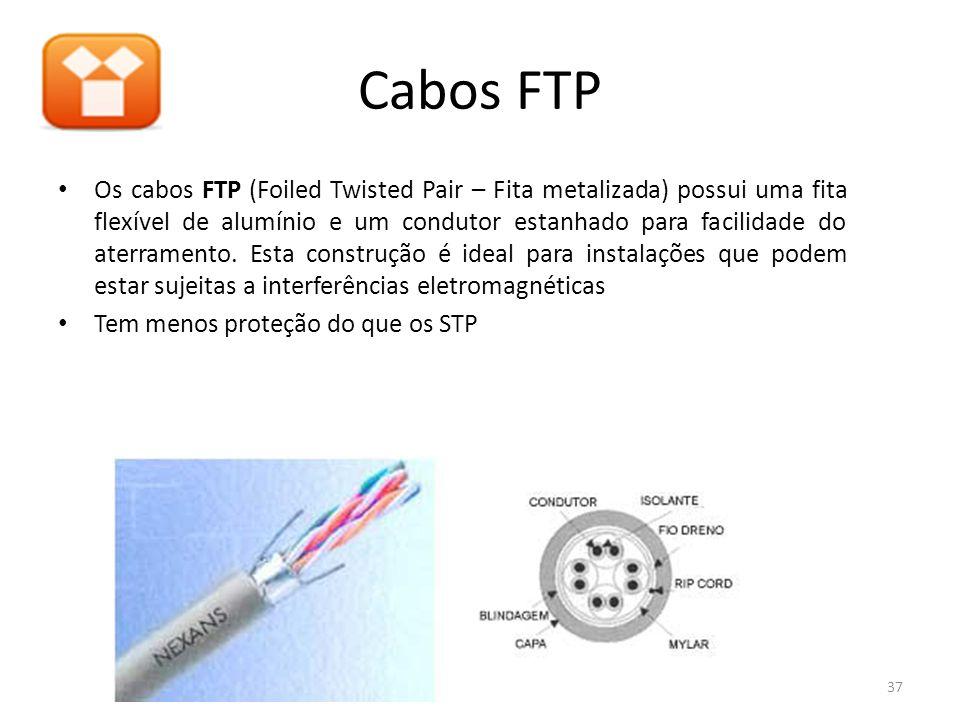Cabos FTP Os cabos FTP (Foiled Twisted Pair – Fita metalizada) possui uma fita flexível de alumínio e um condutor estanhado para facilidade do aterram
