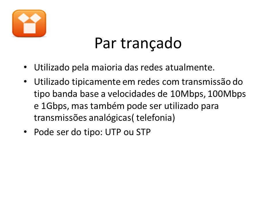 Par trançado Utilizado pela maioria das redes atualmente. Utilizado tipicamente em redes com transmissão do tipo banda base a velocidades de 10Mbps, 1