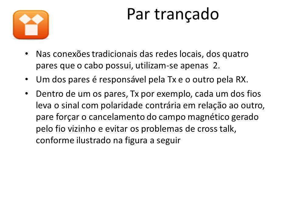 Nas conexões tradicionais das redes locais, dos quatro pares que o cabo possui, utilizam-se apenas 2. Um dos pares é responsável pela Tx e o outro pel