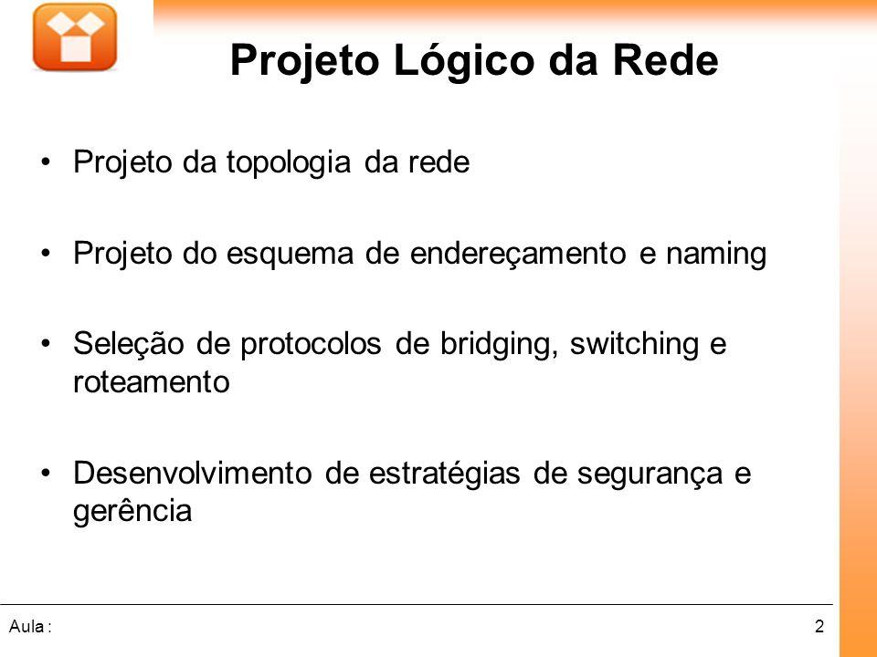 2Aula : Projeto Lógico da Rede Projeto da topologia da rede Projeto do esquema de endereçamento e naming Seleção de protocolos de bridging, switching