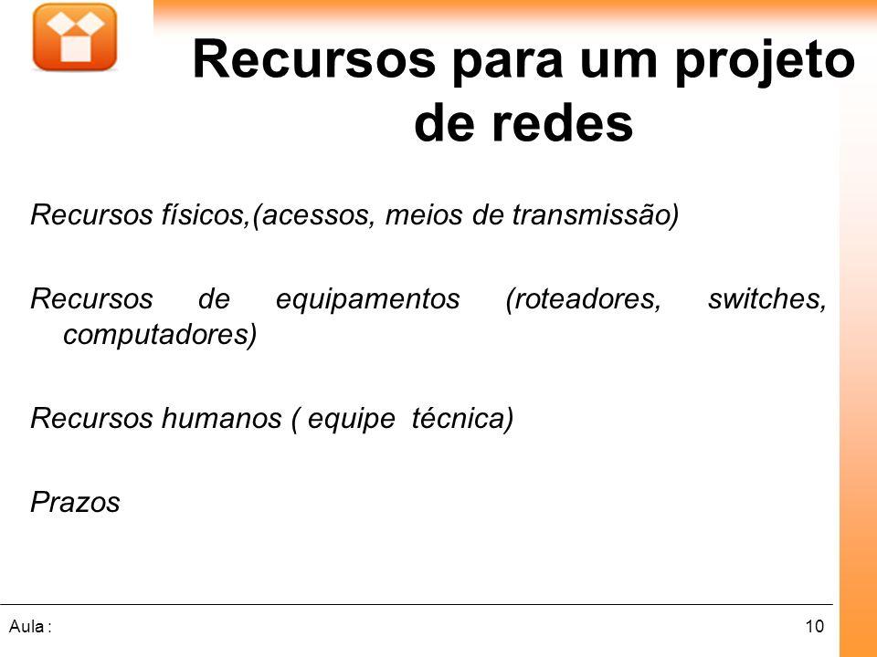 10Aula : Recursos físicos,(acessos, meios de transmissão) Recursos de equipamentos (roteadores, switches, computadores) Recursos humanos ( equipe técn