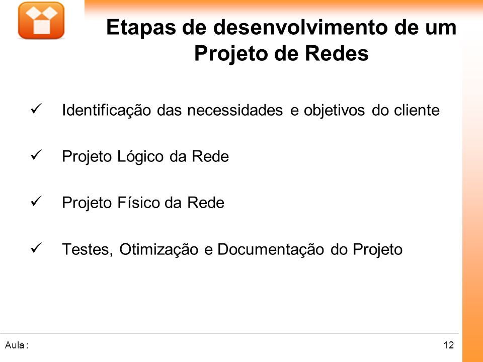 12Aula : Etapas de desenvolvimento de um Projeto de Redes Identificação das necessidades e objetivos do cliente Projeto Lógico da Rede Projeto Físico