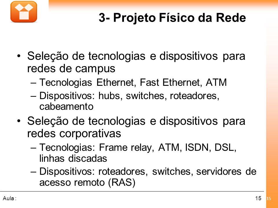 15Aula : 3- Projeto Físico da Rede Seleção de tecnologias e dispositivos para redes de campus –Tecnologias Ethernet, Fast Ethernet, ATM –Dispositivos: