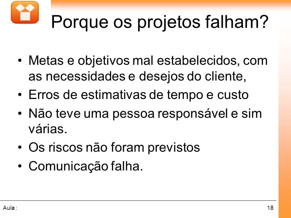 18Aula : Porque os projetos falham? Metas e objetivos mal estabelecidos, com as necessidades e desejos do cliente, Erros de estimativas de tempo e cus
