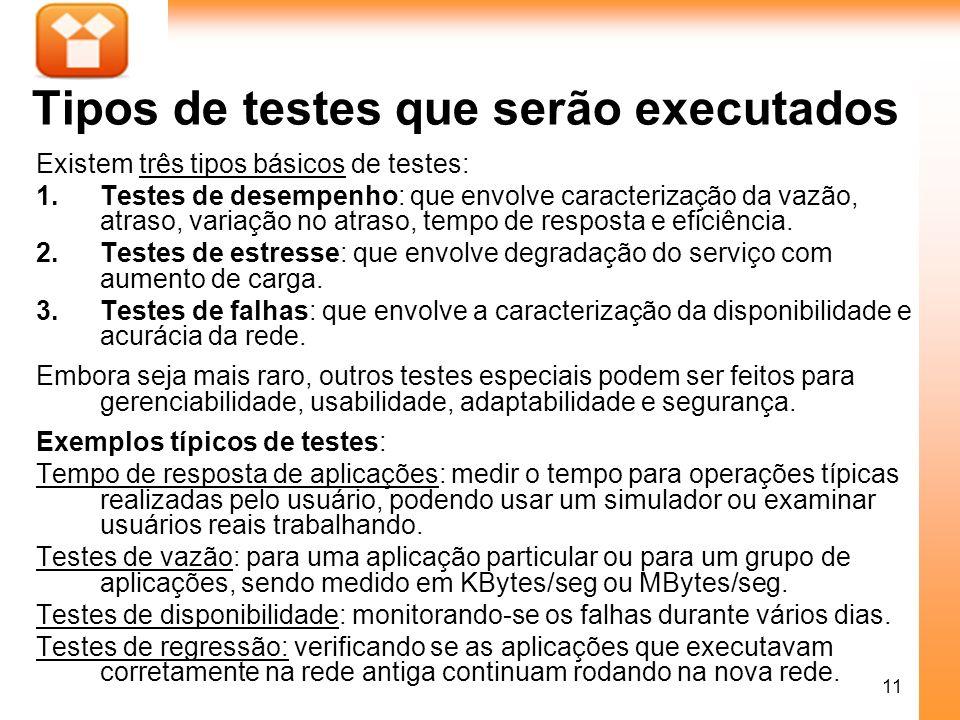 11 Tipos de testes que serão executados Existem três tipos básicos de testes: 1.Testes de desempenho: que envolve caracterização da vazão, atraso, var