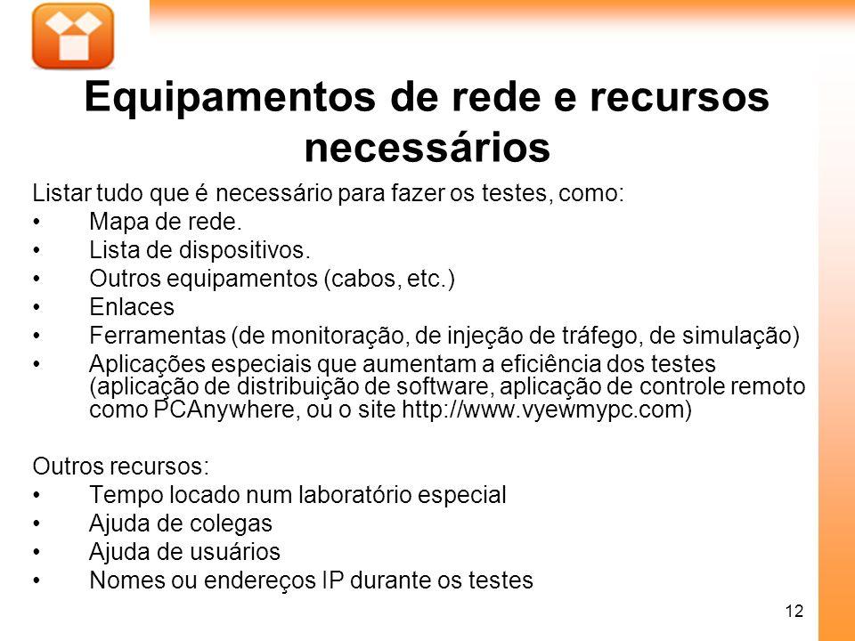 12 Equipamentos de rede e recursos necessários Listar tudo que é necessário para fazer os testes, como: Mapa de rede. Lista de dispositivos. Outros eq
