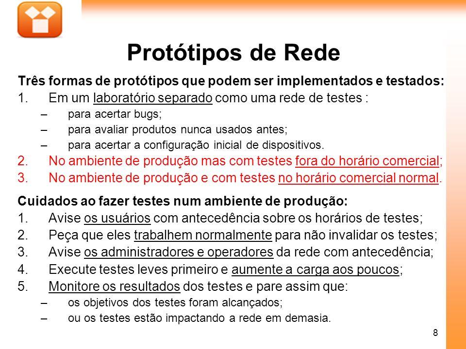 8 Protótipos de Rede Três formas de protótipos que podem ser implementados e testados: 1.Em um laboratório separado como uma rede de testes : –para ac