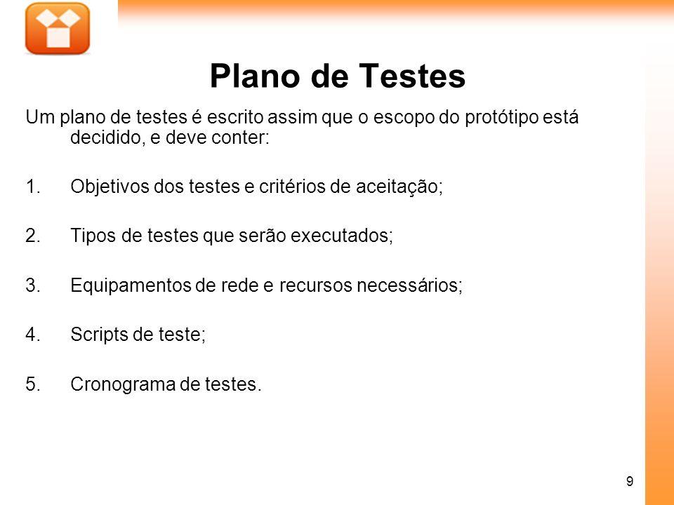9 Plano de Testes Um plano de testes é escrito assim que o escopo do protótipo está decidido, e deve conter: 1.Objetivos dos testes e critérios de ace