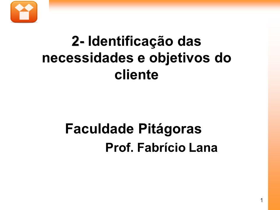 1 Faculdade Pitágoras Prof. Fabrício Lana 2- 2- Identificação das necessidades e objetivos do cliente