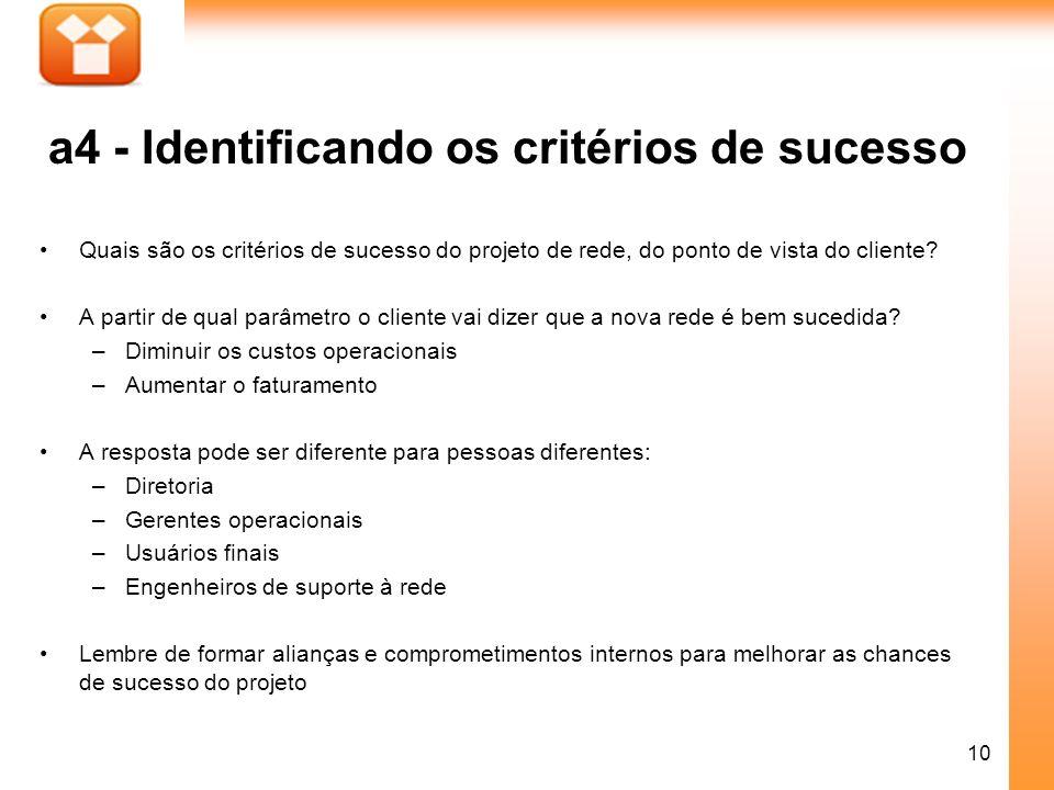 10 a4 - Identificando os critérios de sucesso Quais são os critérios de sucesso do projeto de rede, do ponto de vista do cliente? A partir de qual par