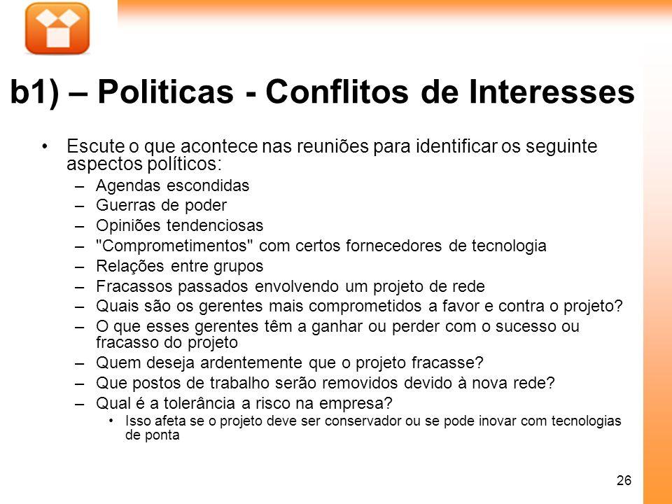 26 b1) – Politicas - Conflitos de Interesses Escute o que acontece nas reuniões para identificar os seguinte aspectos políticos: –Agendas escondidas –