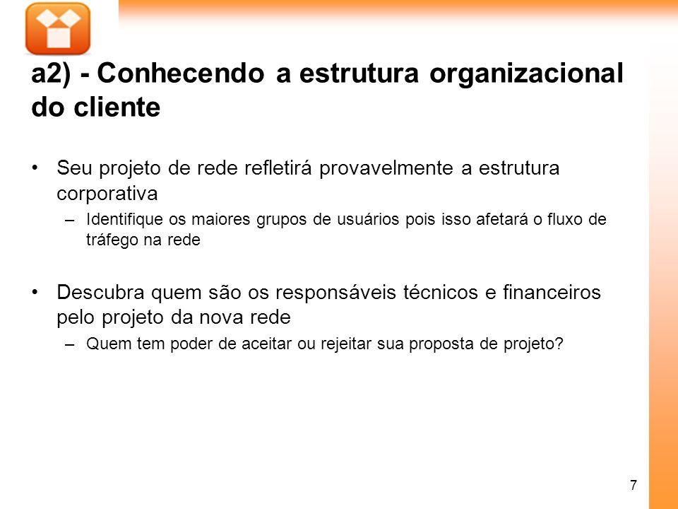 7 a2) - Conhecendo a estrutura organizacional do cliente Seu projeto de rede refletirá provavelmente a estrutura corporativa –Identifique os maiores g