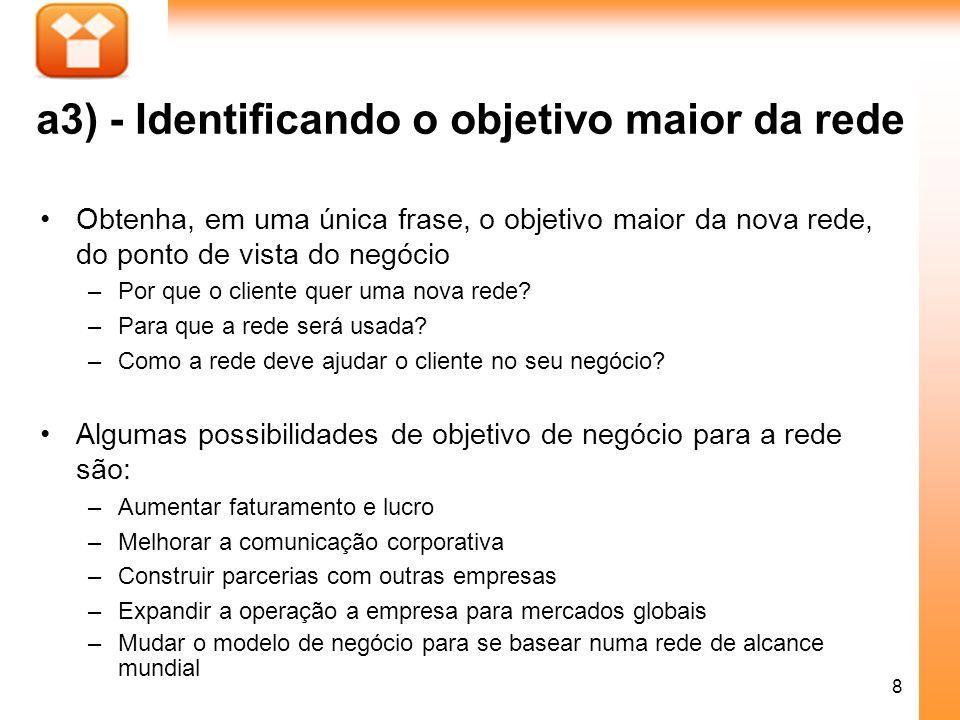19 Identificando as aplicações do cliente que utilizarão a rede Criticalidade: usar um número, por enquanto.