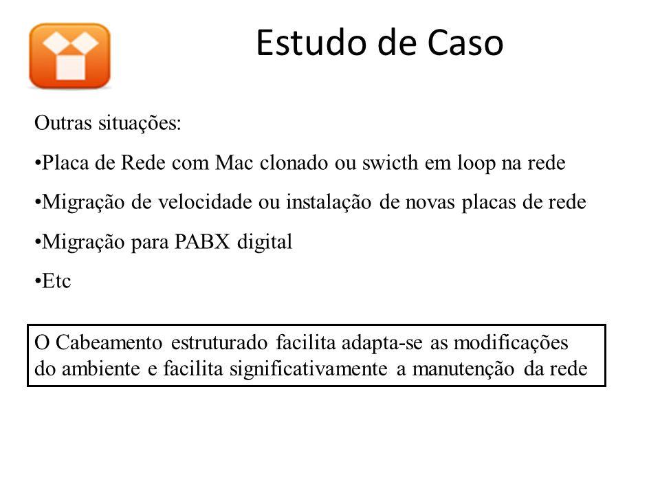 Estudo de Caso Outras situações: Placa de Rede com Mac clonado ou swicth em loop na rede Migração de velocidade ou instalação de novas placas de rede