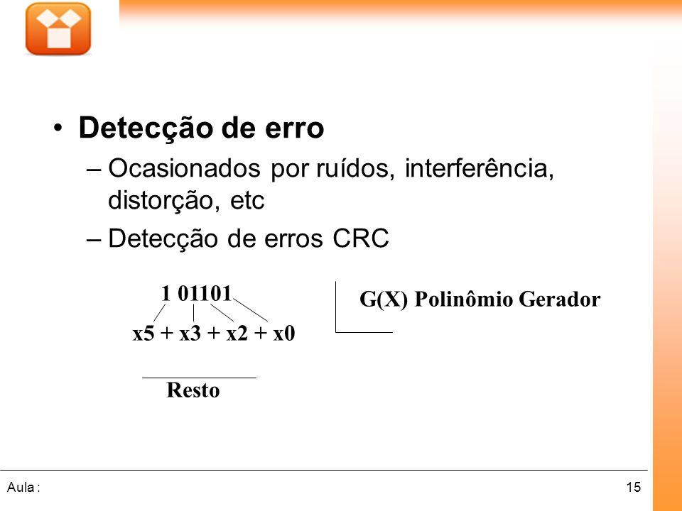15Aula : Detecção de erro –Ocasionados por ruídos, interferência, distorção, etc –Detecção de erros CRC 1 01101 G(X) Polinômio Gerador Resto x5 + x3 +
