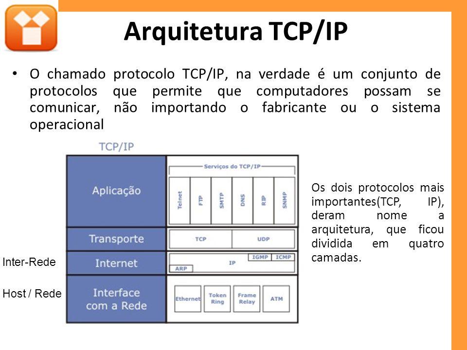 O chamado protocolo TCP/IP, na verdade é um conjunto de protocolos que permite que computadores possam se comunicar, não importando o fabricante ou o