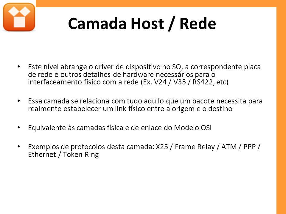 Camada Host / Rede Este nível abrange o driver de dispositivo no SO, a correspondente placa de rede e outros detalhes de hardware necessários para o i