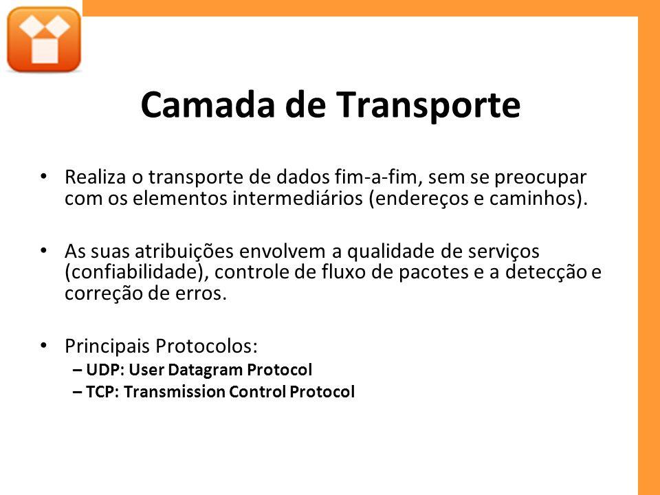 Camada de Transporte Realiza o transporte de dados fim-a-fim, sem se preocupar com os elementos intermediários (endereços e caminhos). As suas atribui