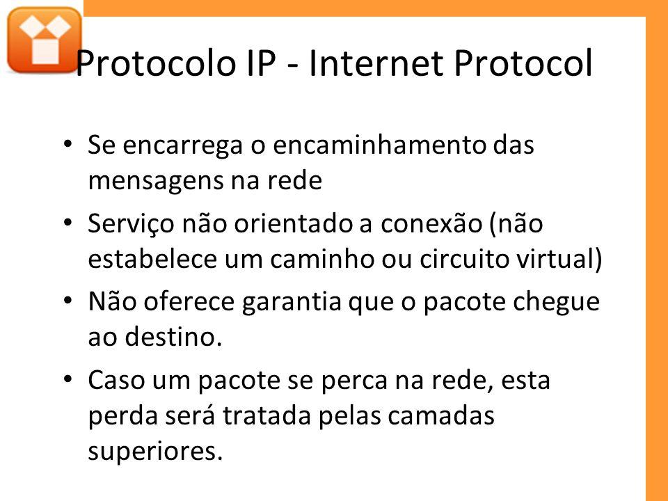 Protocolo IP - Internet Protocol Se encarrega o encaminhamento das mensagens na rede Serviço não orientado a conexão (não estabelece um caminho ou cir