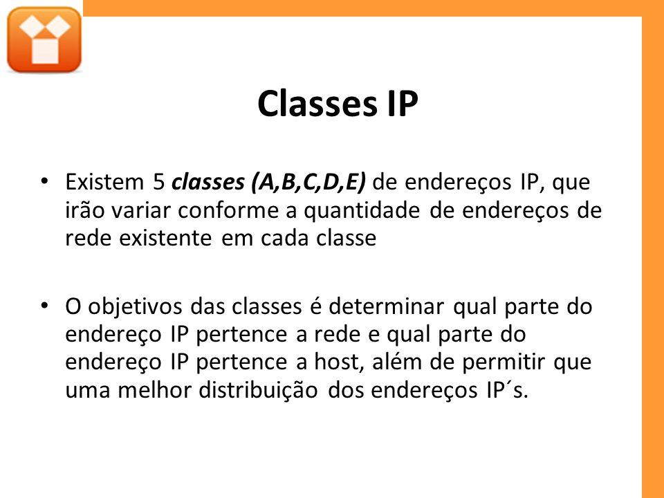 Classes IP Existem 5 classes (A,B,C,D,E) de endereços IP, que irão variar conforme a quantidade de endereços de rede existente em cada classe O objeti