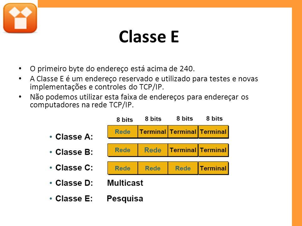 Classe E O primeiro byte do endereço está acima de 240. A Classe E é um endereço reservado e utilizado para testes e novas implementações e controles