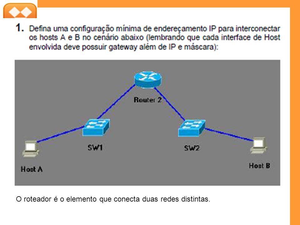 O roteador é o elemento que conecta duas redes distintas.